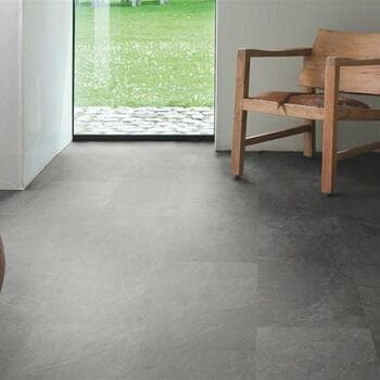 Кварц-виниловая плитка QuickStep Сланец  чёрный Ambient Glue Plus AMGP40035